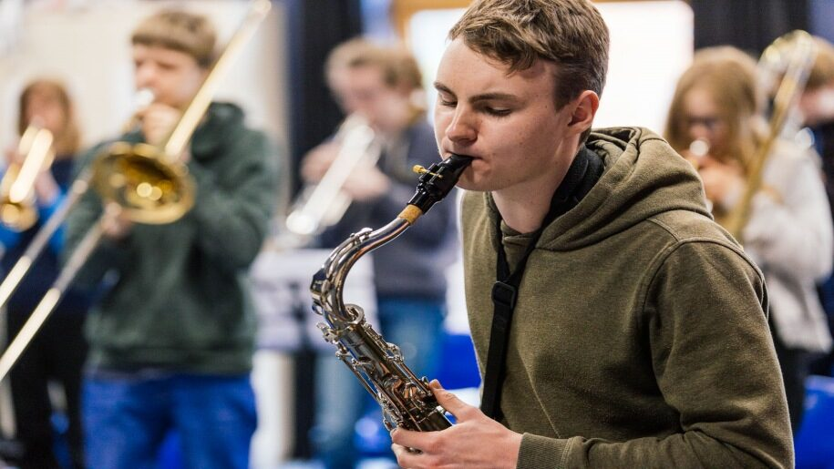 Norfolk Centre for Young Musicians Open Day - Boy playing a horn