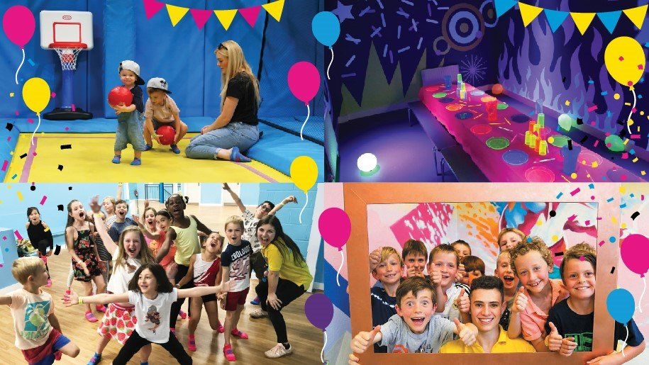 collage of children having a party at Air Hop