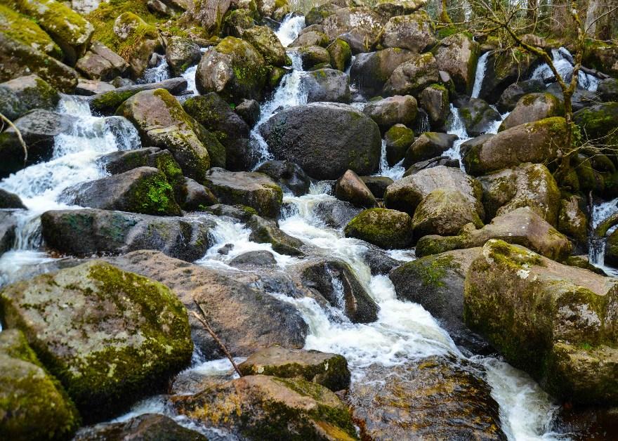 water fall at Becky Falls woodland park