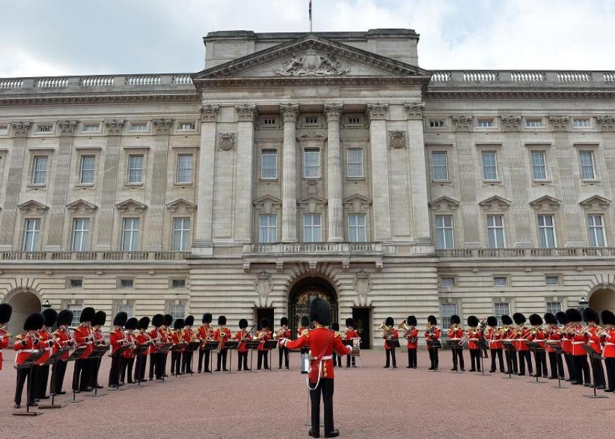changing of the guard outside Buckingham Palace