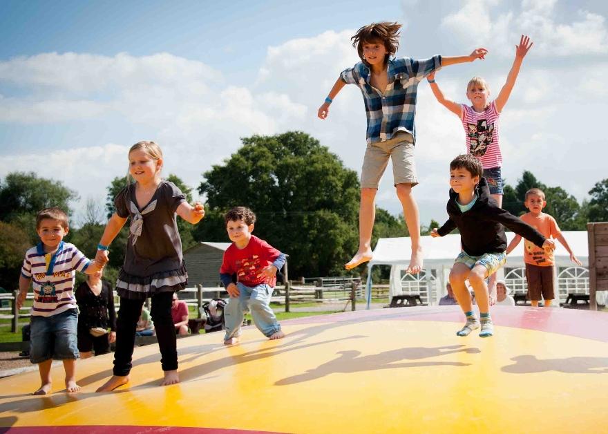 kids on a trampoline